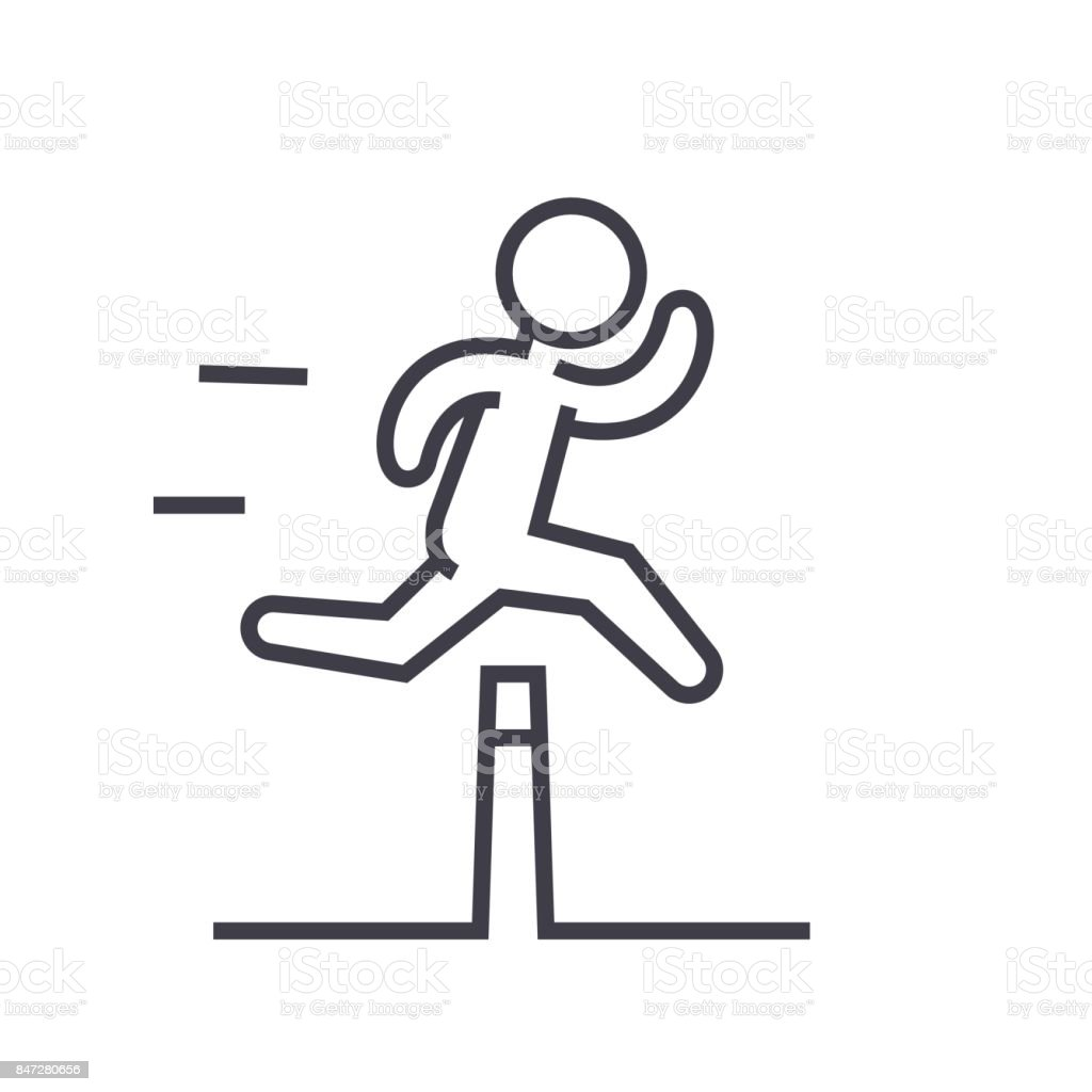 Obstacle race concept flat line illustration, concept vector isolated icon on white background vector art illustration