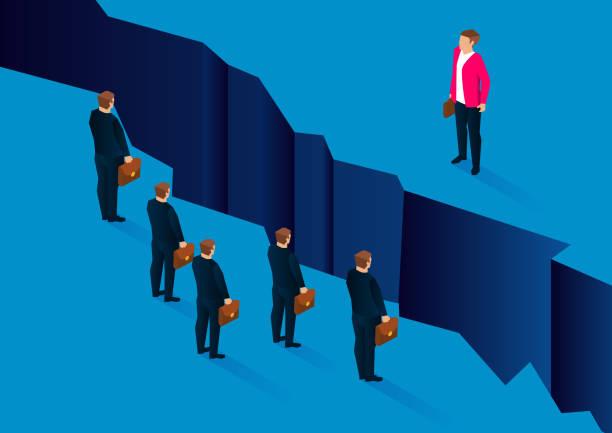ilustrações de stock, clip art, desenhos animados e ícones de obstacles and differences, huge cracks between leaders and employees - alter do chão