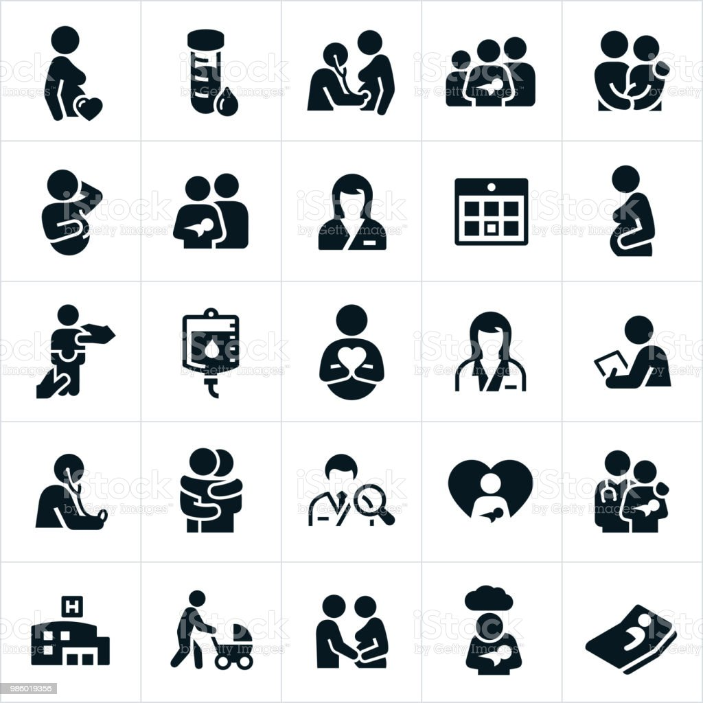Obstetrician and Pregnancy Icons A set of obstetrician and pregnancy icons. The icons show pregnancy, pregnant woman, healthcare, doctor, nurse, obstetrician, new born baby, family, couples and other related icons. Adult stock vector