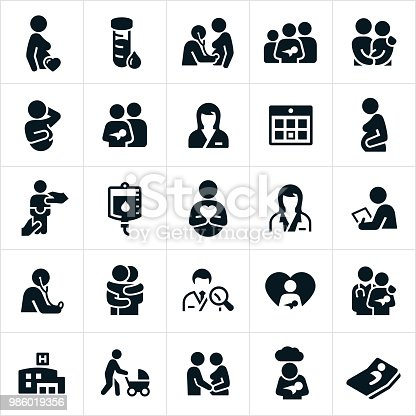 A set of obstetrician and pregnancy icons. The icons show pregnancy, pregnant woman, healthcare, doctor, nurse, obstetrician, new born baby, family, couples and other related icons.