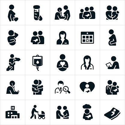 Obstetrician And Pregnancy Icons Stock Illustration - Download Image Now