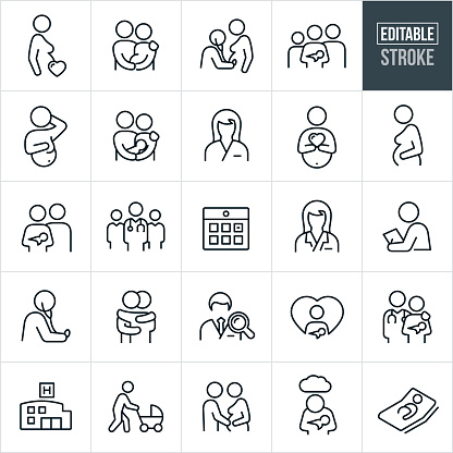 Obstetrician and Pregnancy Thin Line Icons - Editable Stroke