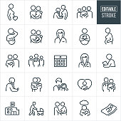 A set of obstetrician and pregnancy icons that include editable strokes or outlines using the EPS vector file. The icons include a pregnant woman an a heart, a pregnant couple holding each other, a doctor using a stethoscope to listen to the stomach of a pregnant woman, a family of three with one being a newborn held in his mothers arms, a pregnant woman showing her pregnant belly, a couple lovingly holding a newborn, nurse, team of medical professionals, calendar to represent due date, female doctor, doctor holding stethoscope, two people hugging, doctor search, new mother holding her baby with heart in background, hospital, mother pushing baby carriage, father feeling the pregnant stomach of his wife, postpartum depression and a pregnant woman in bed to name a few.