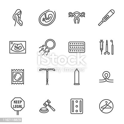 Obstetrics clinic flat line icons set. Abortion protest, baby ultrasound, embryo, fetus, pregnant woman, contraception vector illustrations. Outline medical signs. Pixel perfect 64x64. Editable Stroke