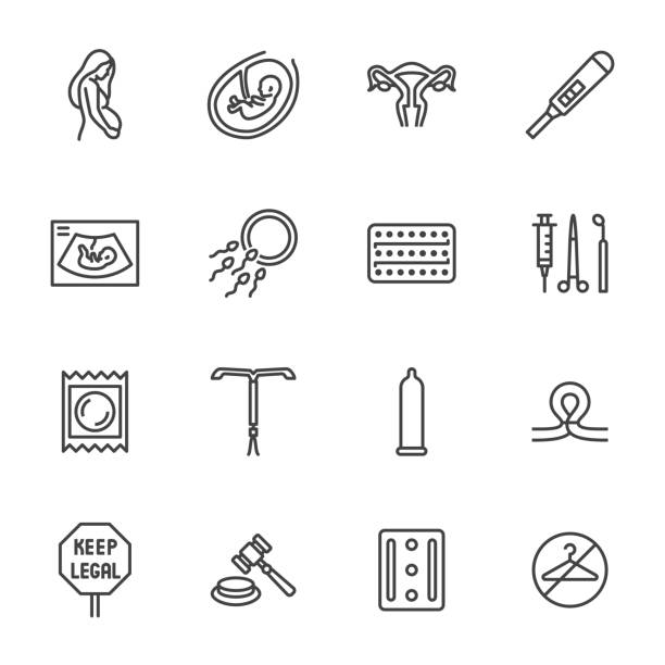 Obstetrics clinic flat line icons set. Abortion protest, baby ultrasound, embryo, fetus, pregnant woman, contraception vector illustrations. Outline medical signs. Pixel perfect 64x64 Editable Stroke Obstetrics clinic flat line icons set. Abortion protest, baby ultrasound, embryo, fetus, pregnant woman, contraception vector illustrations. Outline medical signs. Pixel perfect 64x64. Editable Stroke pregnancy stock illustrations