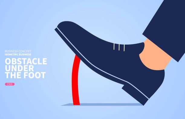 Behindern Sie den Fortschritt, Hindernisse unter den Füßen – Vektorgrafik