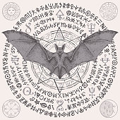 occult banner with a bat with open wings and star