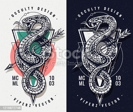 Occult Design With Snake and Geometric Shapes. Snake with open mouth wild keeps arrow. Sacred geometry on the background. Vector art.