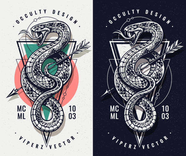 Occult Design With Snake and Geometrics Occult Design With Snake and Geometric Shapes. Snake with open mouth wild keeps arrow. Sacred geometry on the background. Vector art. snakes tattoos stock illustrations