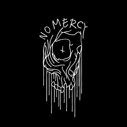 Occult Dripping Blood Skull T-shirt Design Illustration