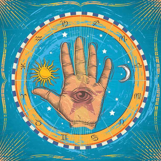 stockillustraties, clipart, cartoons en iconen met occult hand - handpalm