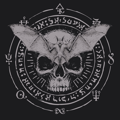 occult hand-drawn banner with bat and human skull