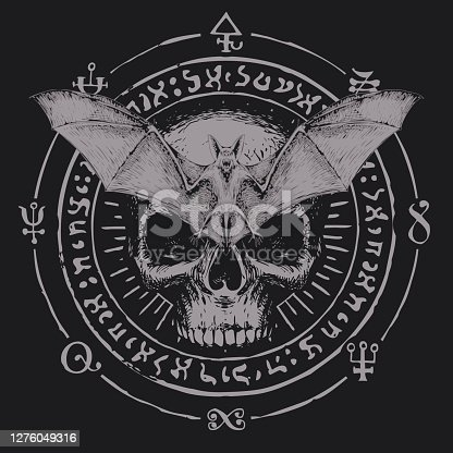 istock occult hand-drawn banner with bat and human skull 1276049316