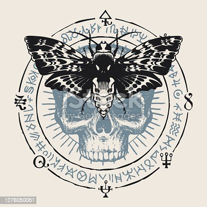 istock occult hand-drawn banner with moth and human skull 1276050051