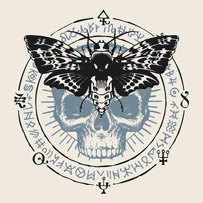 occult hand-drawn banner with moth and human skull
