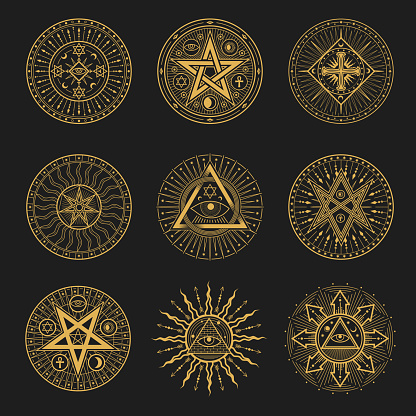 Occult, occultism, alchemy and astrology signs