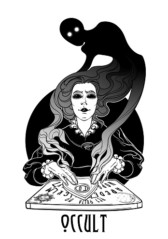 Occult practices. Victorian woman talking to spirits of the death with help of ouija. Black and white drawing isolated on white background.