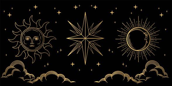 Occult symbols of moon, sun, and stars.