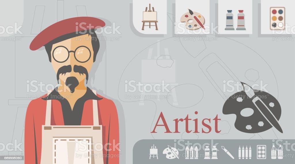 Occupation - Artist vector art illustration