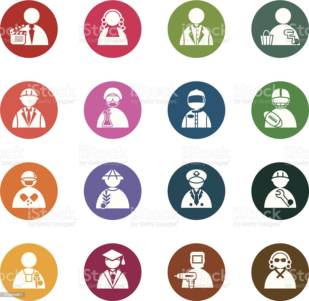 Occupation Color Icons vector art illustration