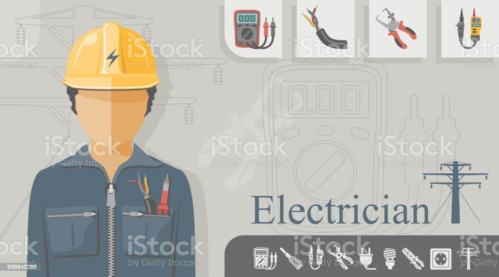 Occupation - Electrician vector art illustration