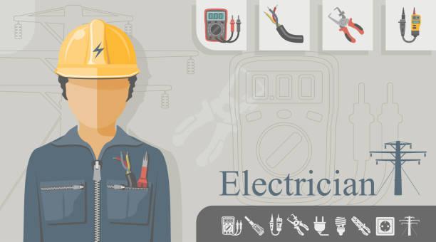 Ocupación - electricista - ilustración de arte vectorial