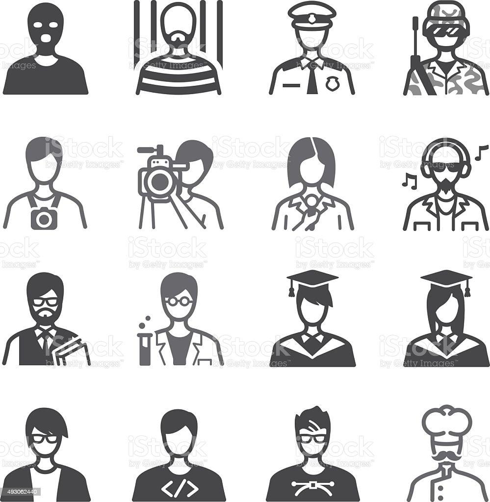Occupation icons set vector art illustration