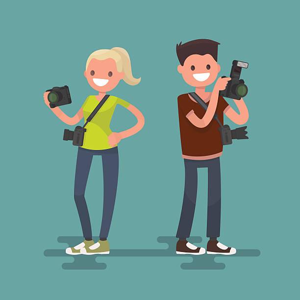 zawód fotograf. mężczyzna i kobieta z kamery - fotografika stock illustrations