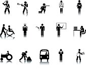 15 occupation icons. Based on 1970s AIGA icon designed for the US Department of Transport. This figure is based on the standard sized stick figure rather than the compact version. This format can be blown up to any size without loss of quality.