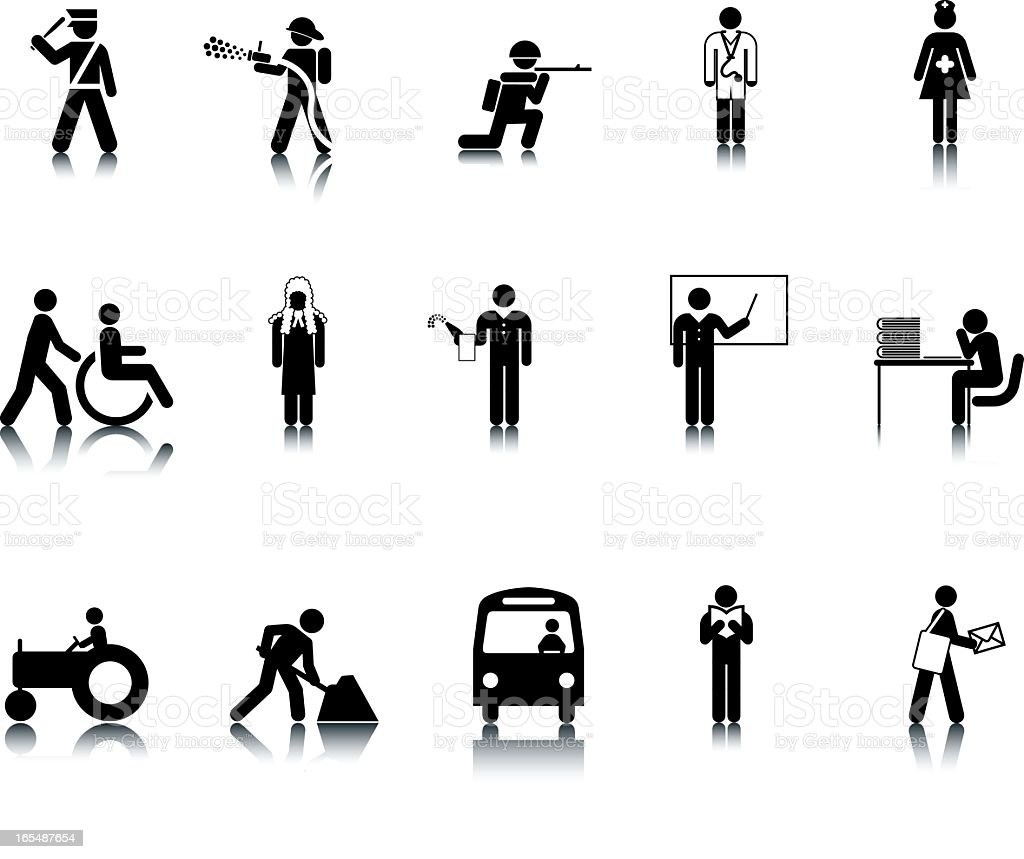 Occupation Stick Figure Icons vector art illustration