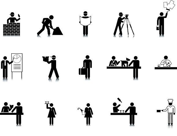 Ocupación Stick Figura iconos - ilustración de arte vectorial