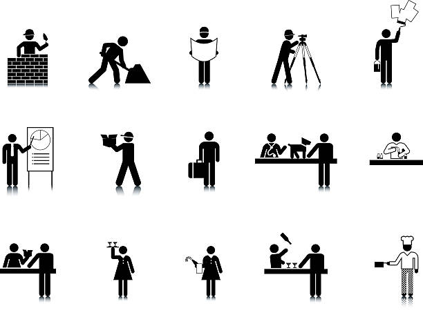 Occupation Stick Figure Icons vector art illustration