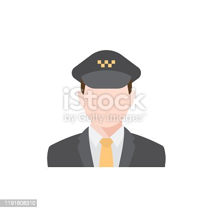 Occupation Taxi driver character isolated illustration