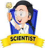 Occupation wordcard with female scientist illustration