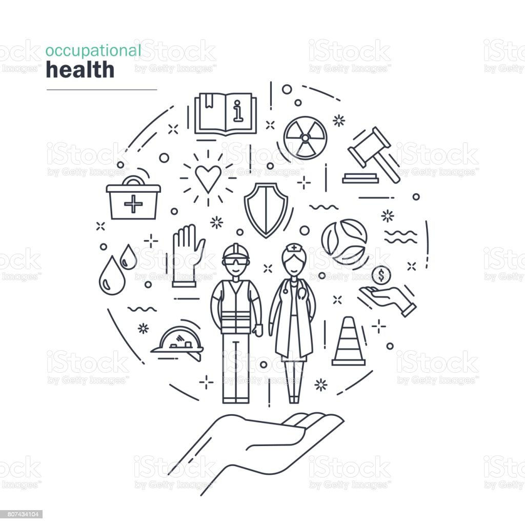 Occupational health and safety. Modern thin line design including symbols of protecting, safety, support of employees of different professions. Vector illustration on white background. vector art illustration