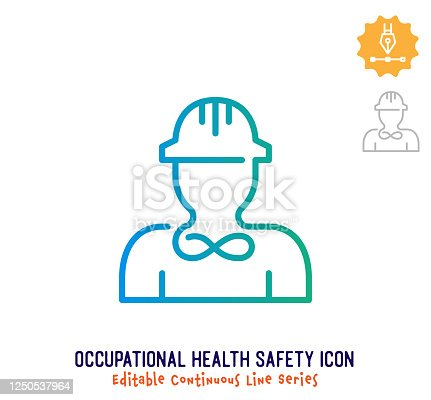 Occupational health safety vector icon illustration for logo, emblem or symbol use. Part of continuous one line minimalistic drawing series. Design elements with editable gradient stroke.