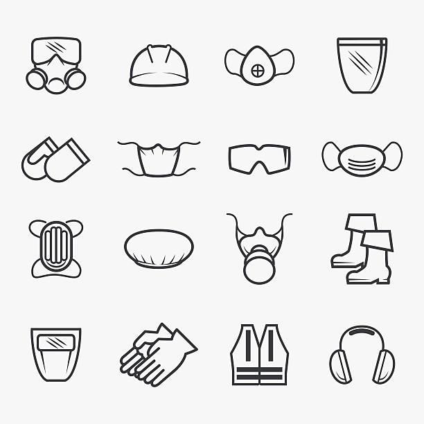 ilustraciones, imágenes clip art, dibujos animados e iconos de stock de iconos de seguridad y salud ocupacional - equipo de seguridad