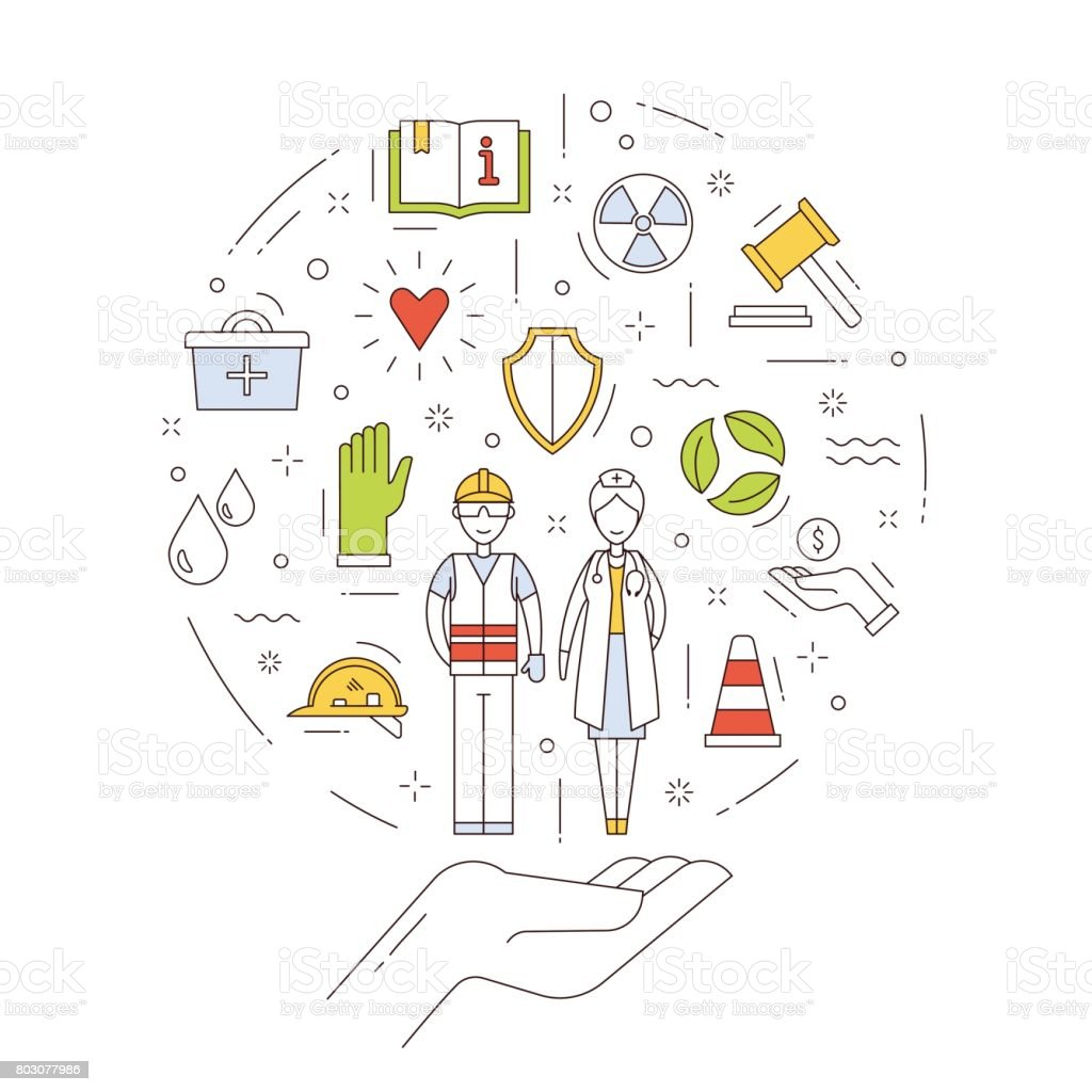 Occupational safety and health in thin line style. Concept including symbols of protecting, safety, support of employees of different professions. Design in thin line style on white background. vector art illustration