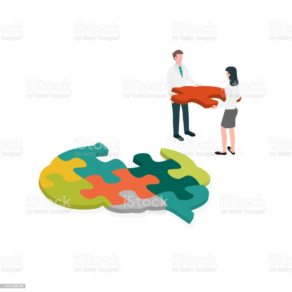 Occupational therapist (or medical professional) assembling a brain jigsaw puzzle. Concept picture for cognitive rehabilitation in Alzheimer disease and dementia patient. vector art illustration