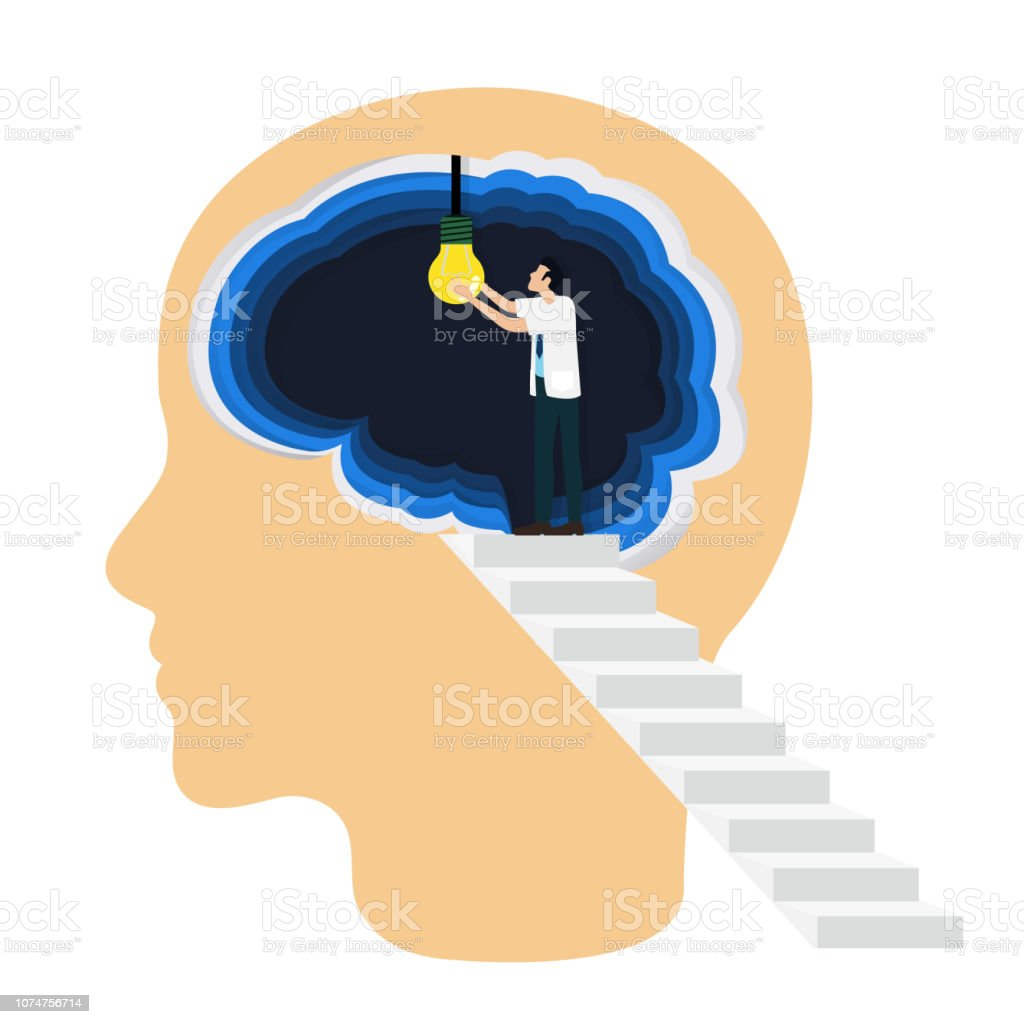 Occupational therapist (or medical professional) open a light bulb inside the brain as a symbol of creative idea. Concept for cognitive rehabilitation in Alzheimer disease and dementia patient. vector art illustration
