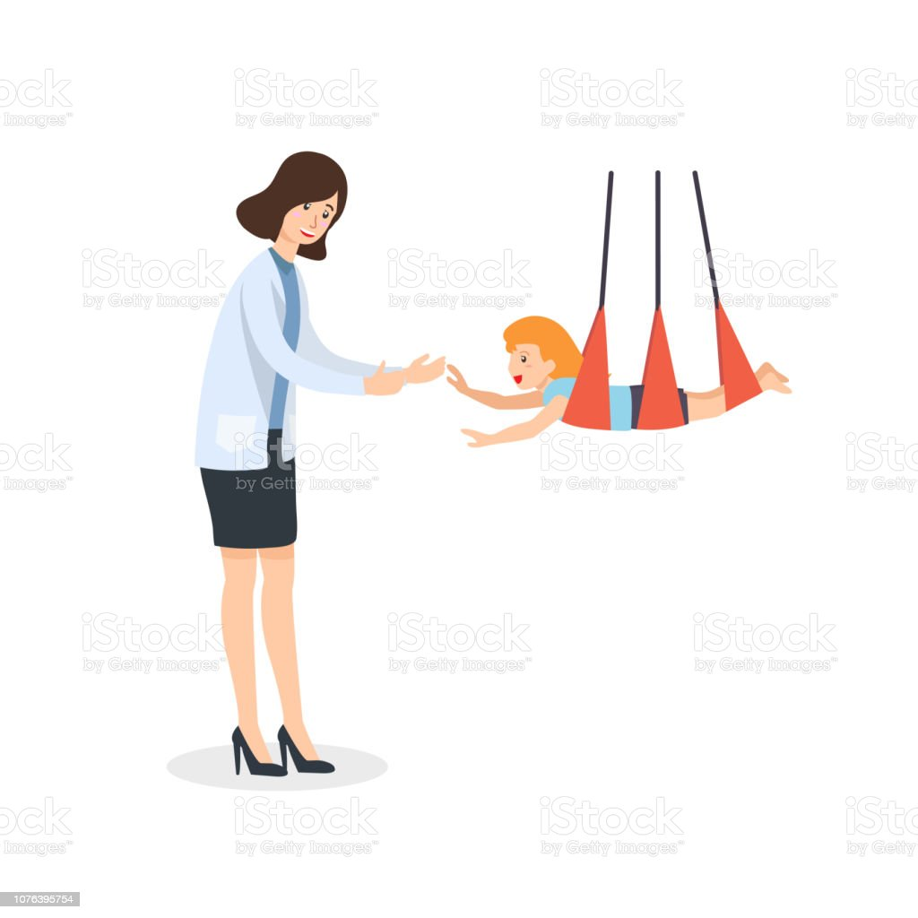 Occupational therapy in pediatric field. Therapist play with children for sensory stimulate child developmental. vector art illustration