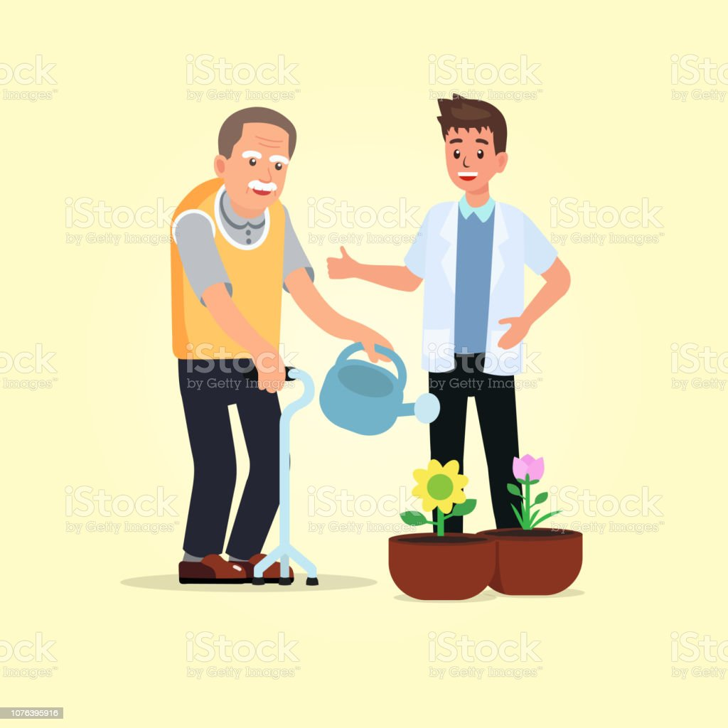 Occupational therapy in rehabilitation session for stroke patient. Therapist training hemiplegia client watering the flowers. Concept for rehabilitation in dementia or Alzheimer disease. vector art illustration