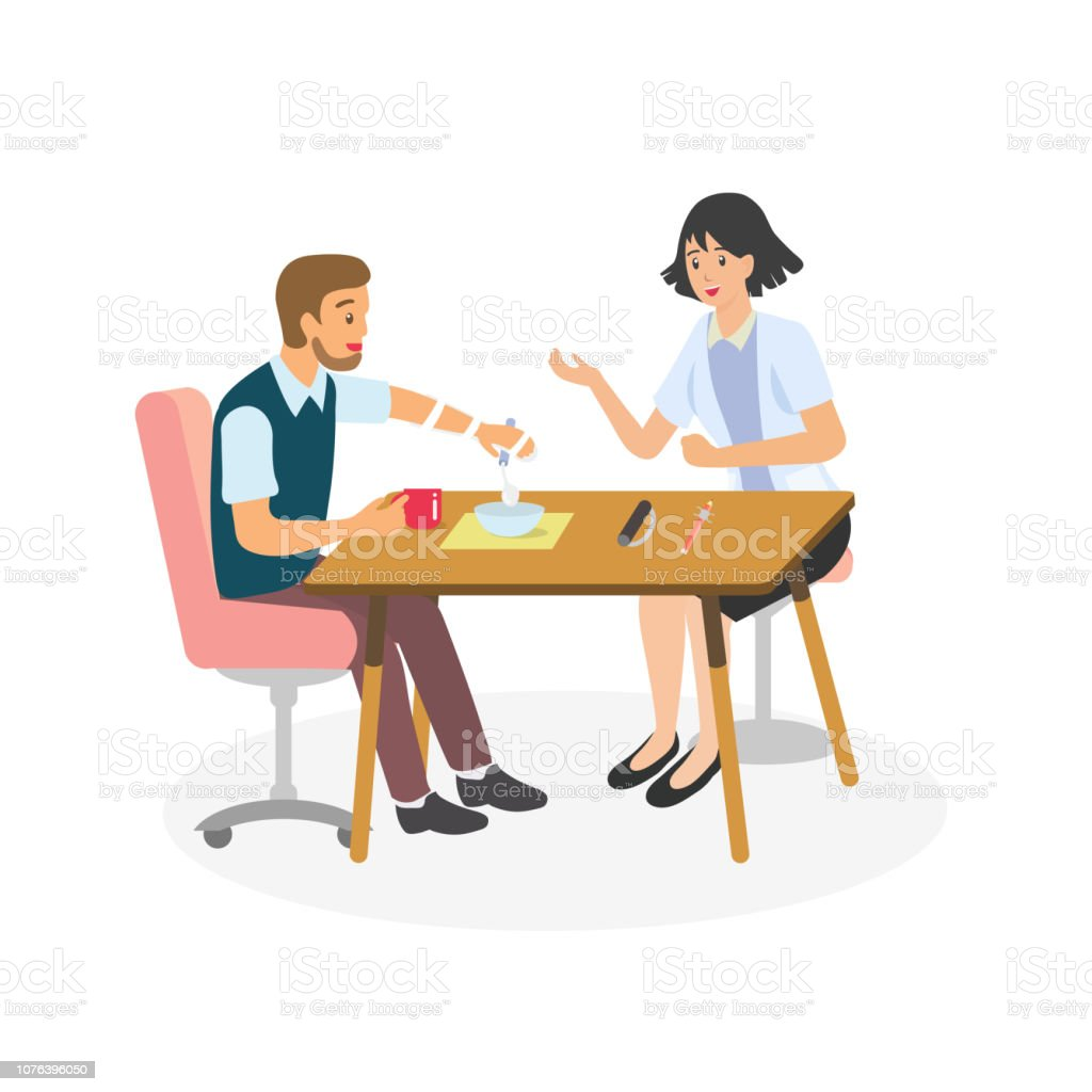 Occupational therapy in rehabilitation session for stroke patient. Therapist training hemiplegia client to move his hand with splint and adaptive device for eating activity. vector art illustration