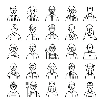 Occupations and Avatars Related Vector Line Icons. Pixel Perfect Outline Symbol