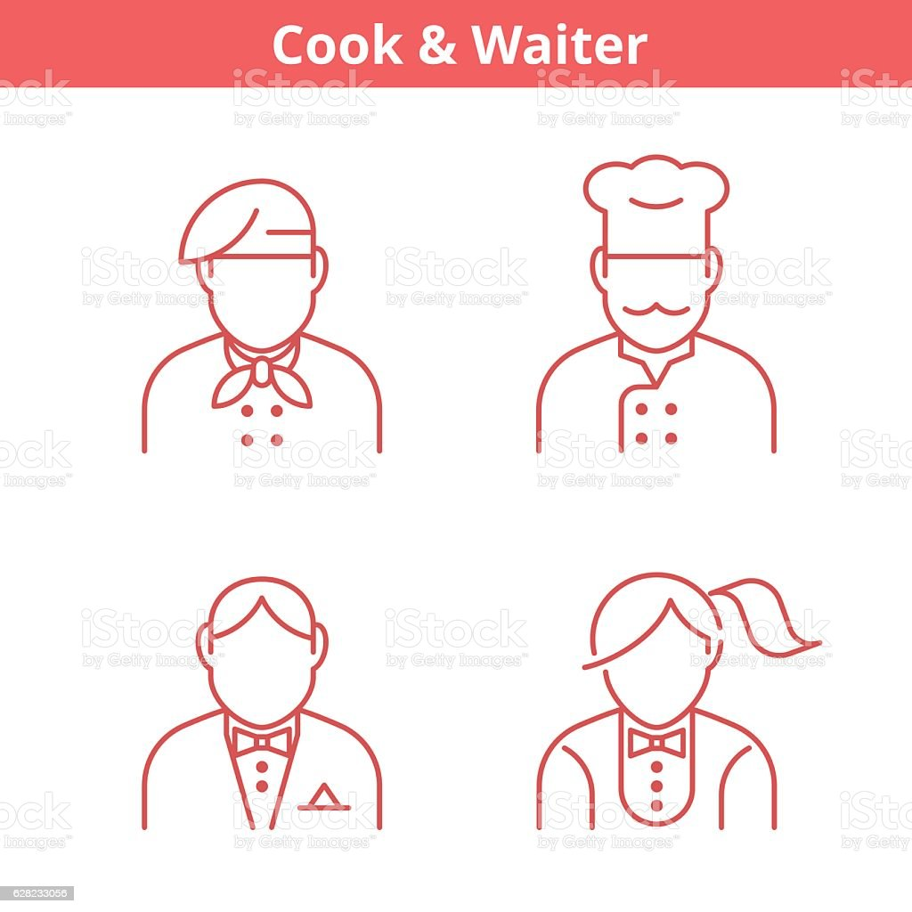 Occupations avatar set: cook, chef, waiter, baker. Thin outline icons. vector art illustration