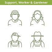 Occupations avatar set: support operator, workman, gardener. Thin outline icons.