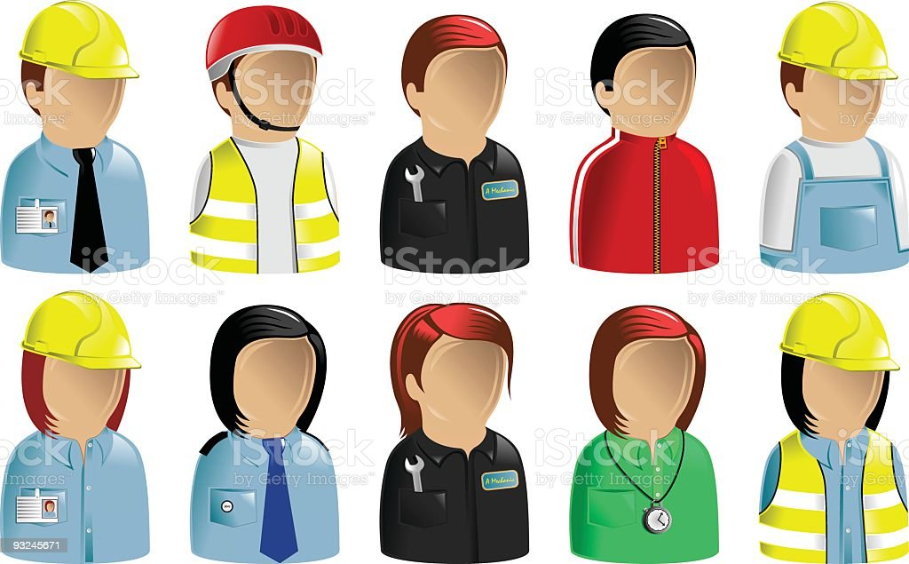Occupations Icons Set Construction Leisure royalty-free stock vector art