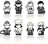 Black and white Icon set of people doing different jobs. Includes; doctor, police officer, astronaut, businessman, fireman, chef, builder and musician.