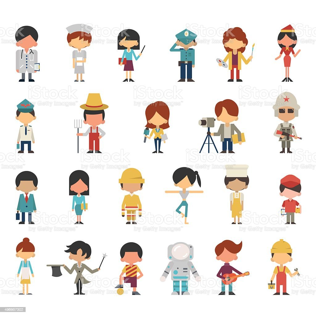 occupations kids vector art illustration
