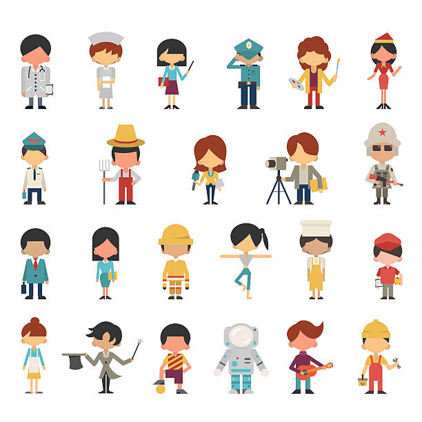 occupations kids Illustration characters of kids or children in various occupations concept. Flat design, simple design. Diversity with multi-ethnic. police interview stock illustrations